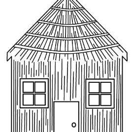 three little pigs houses coloring pages - Master Coloring Pages