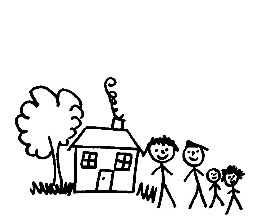 968x845 Drawing Of 4 Stick Figures, House Amp Tree, Grot. By Bindarra