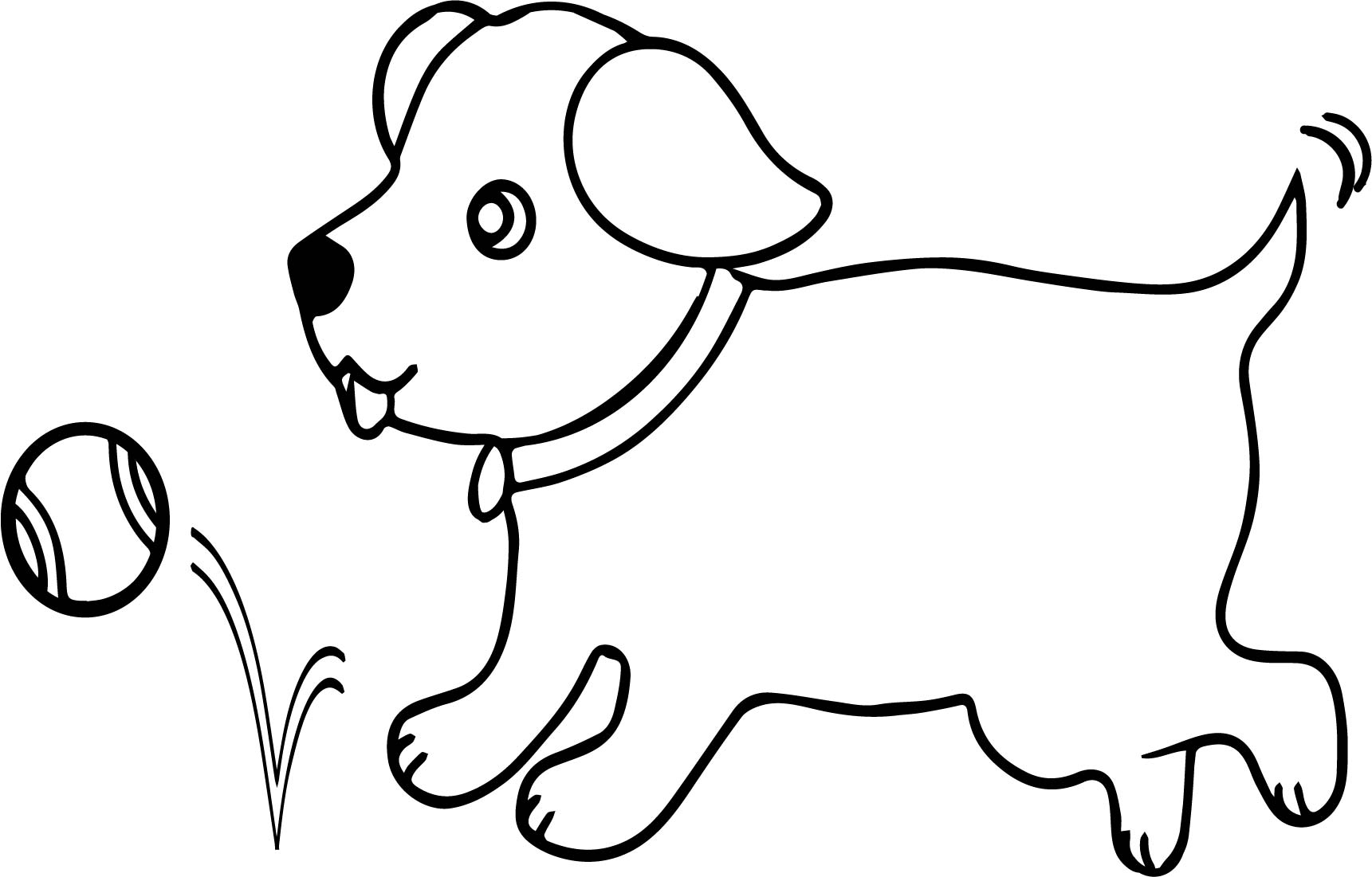 1721x1101 Run Dog With Tennis Ball Coloring Page Wecoloringpage