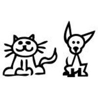 200x200 Cat And Dog Stick Figure Decals, Decal Sticker Vinyl