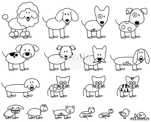 500x403 Vector Collection Of Cute Stick Figure Pets And Animals Stock