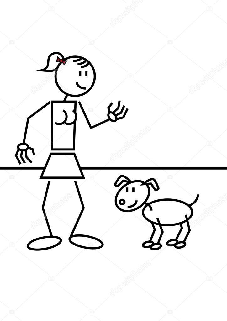 724x1024 Stick Figure Girl Dog Stock Vector Alfonsodetomas
