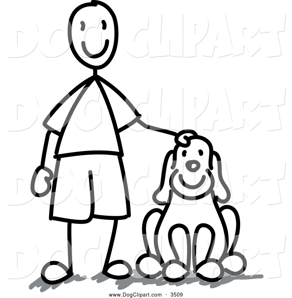 1024x1044 Clip Art Of A Black And White Stick Boy With A Dog By Frog974