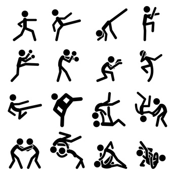 346x346 Sport Pictogram Icon Set 03 Martial Arts Images