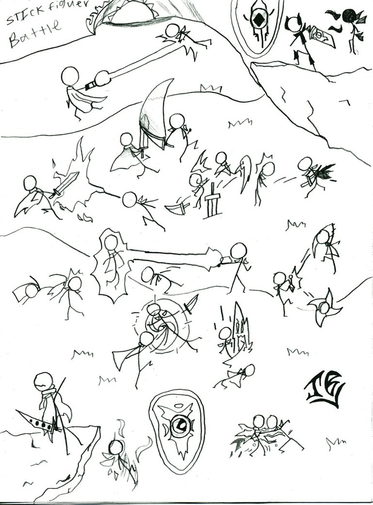 769x1039 Stickfigure Battle By Rjb7
