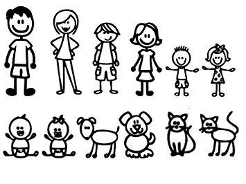 355x266 12 Stick Figure Family Your Funny Vinyl Decal Sticker