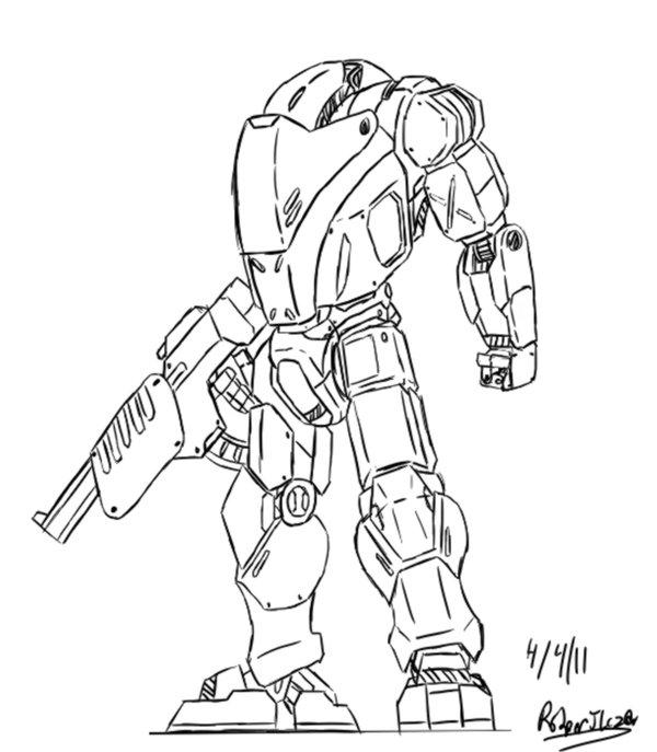 600x687 Sci Fi Battle Armorsuit How To Draw Sci Fi