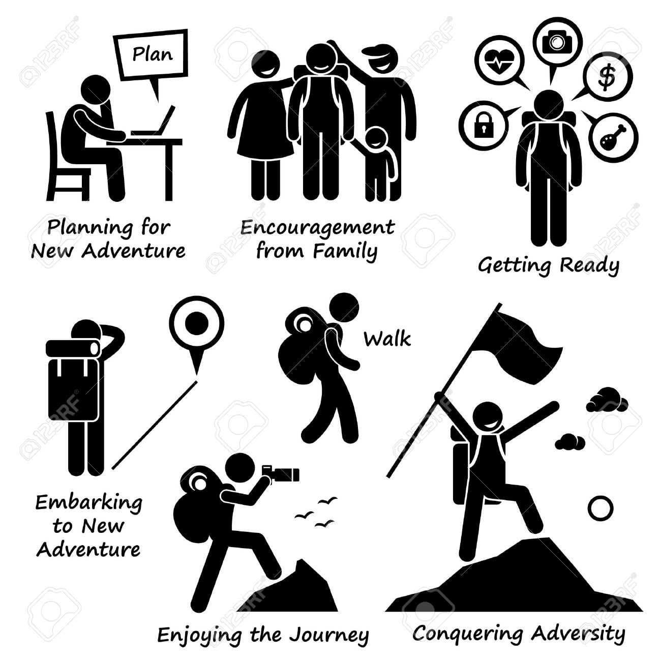 1300x1300 New Adventure And Conquering Adversity Stick Figure Pictogram