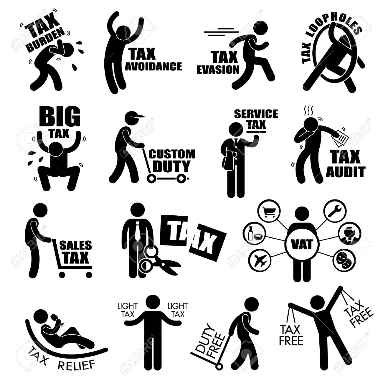 1300x1300 Taxpayer Income Tax Concept Stick Figure Pictogram Icon Cliparts