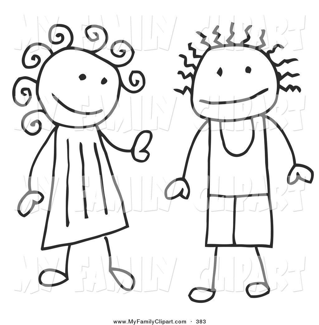 1024x1044 Clip Art Of A Happy Stick Coloring Page Boy And Girl By C Charley