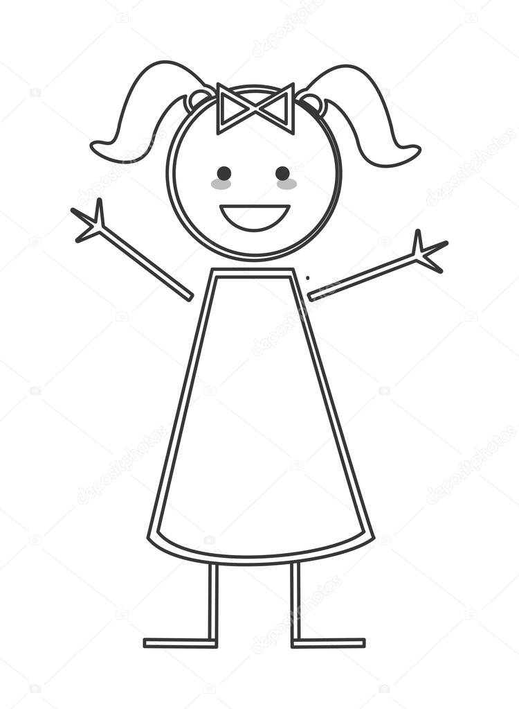 750x1023 Happy Girl With Pigtails Icon Stick Figure Stock Vector