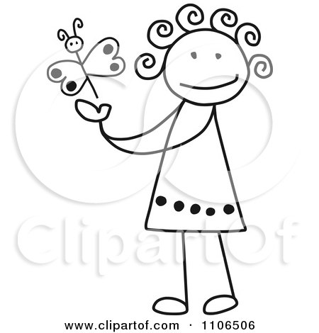 450x470 Clipart Black And White Stick Drawing Of A Happy Girl Playing