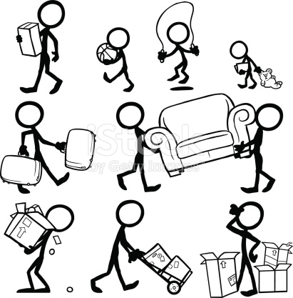 411x417 Stickfigures Moving Furniture, Moving Boxes, Suitcases. Moving