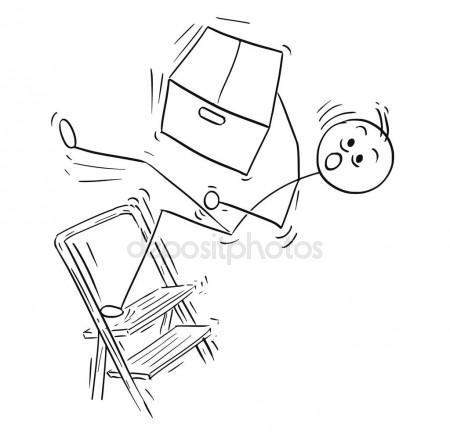 450x437 Vector Stick Man Cartoon Of Man Falling From Stepladder Ladder W