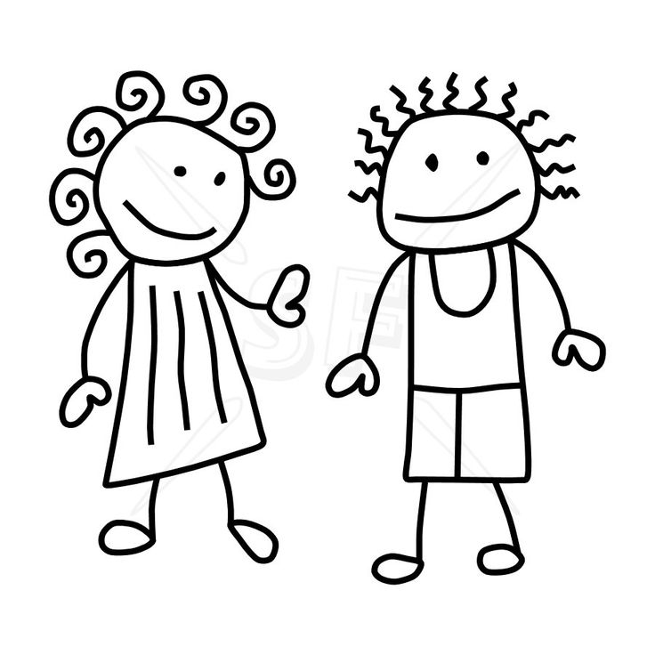 736x736 Stick Figure Kids Clipart Black And White