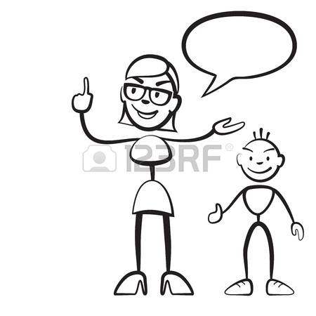 450x450 Stick Figure Persona Woman With Child And Speech Bubble, Stickman