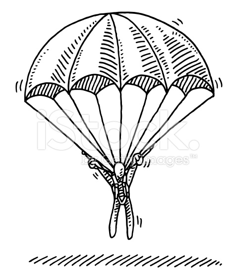 476x556 Hand Drawn Vector Drawing Of A Stick Figure Hanging On Parachute