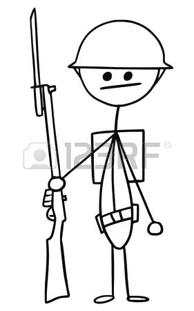 281x450 Cartoon Vector Stickman British World War One Soldier With Riffle