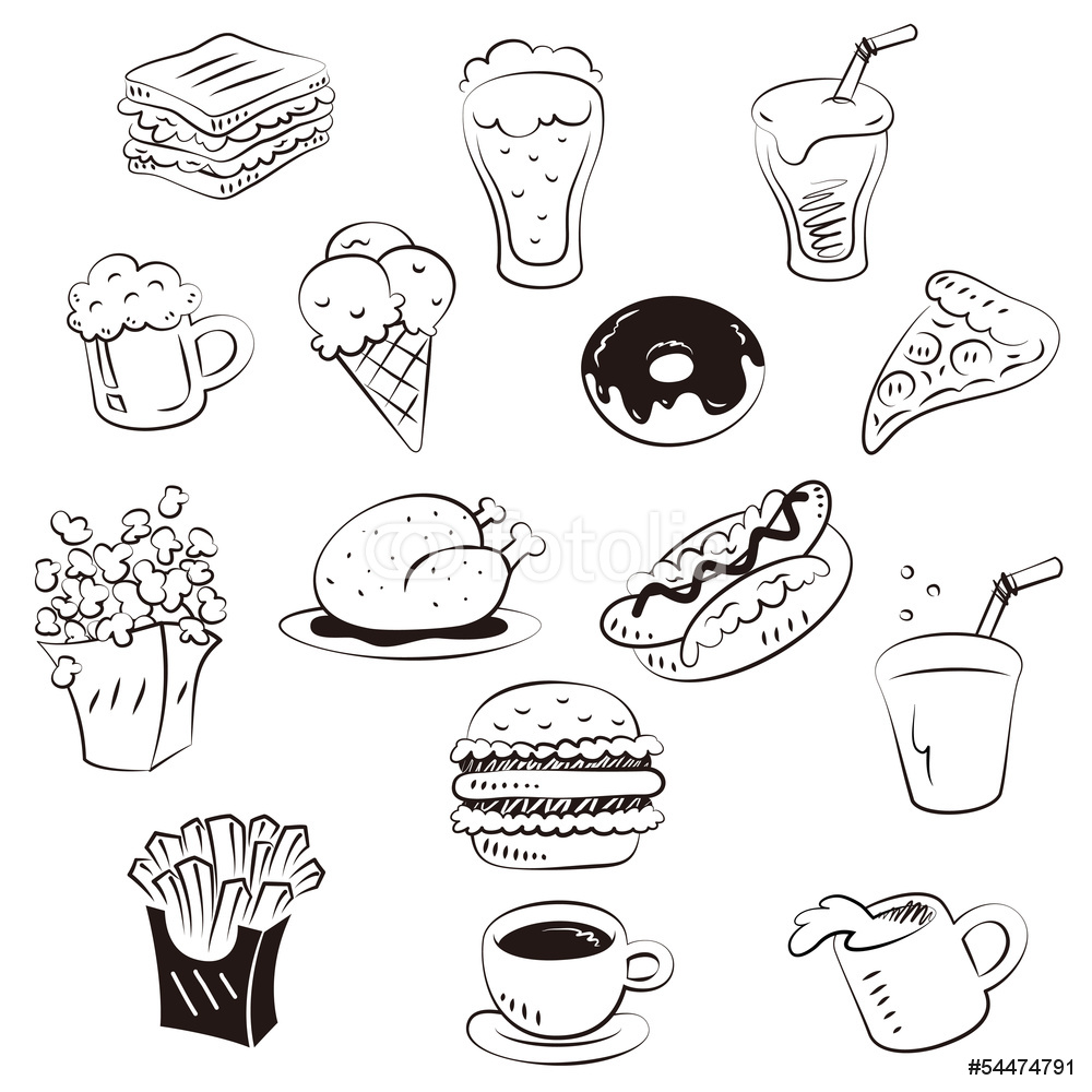 1000x1000 Hand Draw Foods In Doodle Style Wall Sticker Wall Stickers