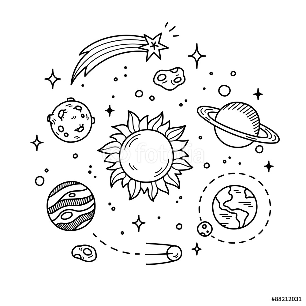1000x1000 Hand Drawn Solar System Sun Planets Asteroids And Other Outer