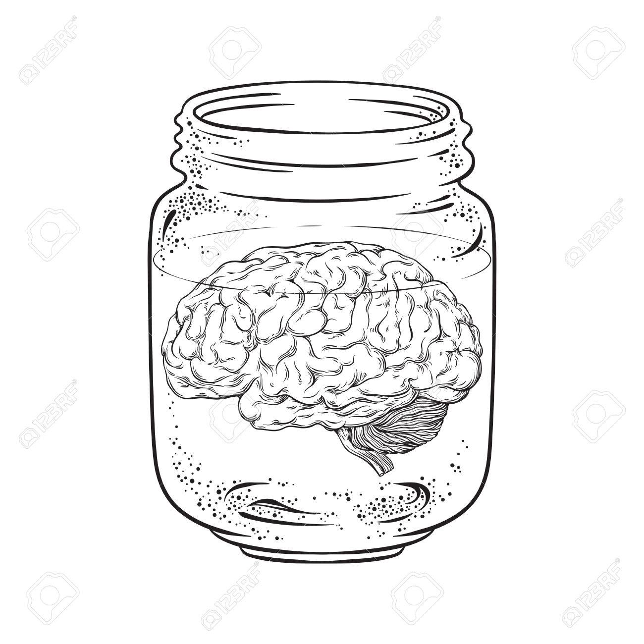 1300x1300 Human Brain In Glass Jar Isolated. Sticker, Print Or Blackwork
