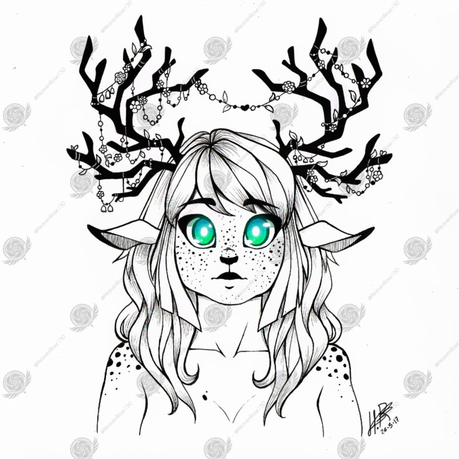 894x894 Print And Sticker] Freckled Deer Girl By Heavenrose150