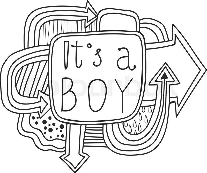 800x667 Printable Scrapbook Sticker It's A Boy. Fun Summer Doodle Frame