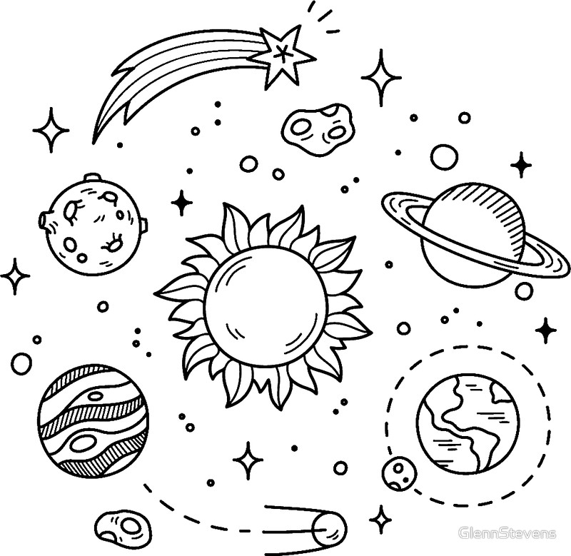 800x779 Space Tumblr Drawing Stickers By Glennstevens Redbubble