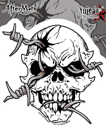 359x433 Barbwire Skull Sticker Biker