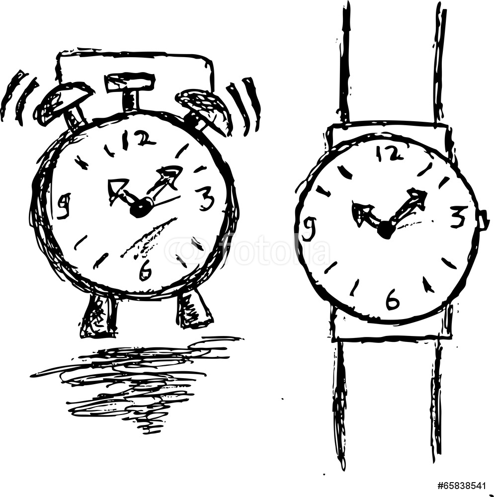 994x1000 Hand Draw Sketch Clock And Watch Wall Sticker Wall Stickers