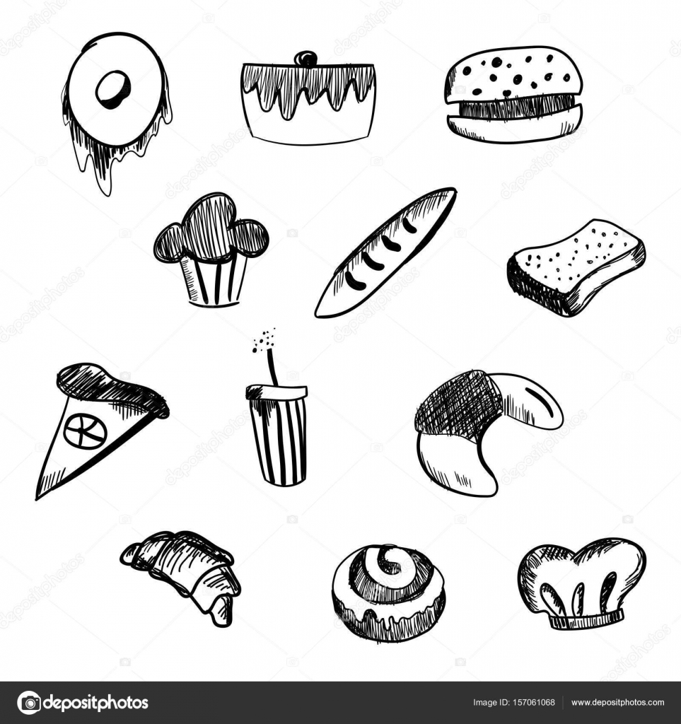 963x1024 Hand Drawn Bakery And Fast Food Icon Set. Blackboard Stickers