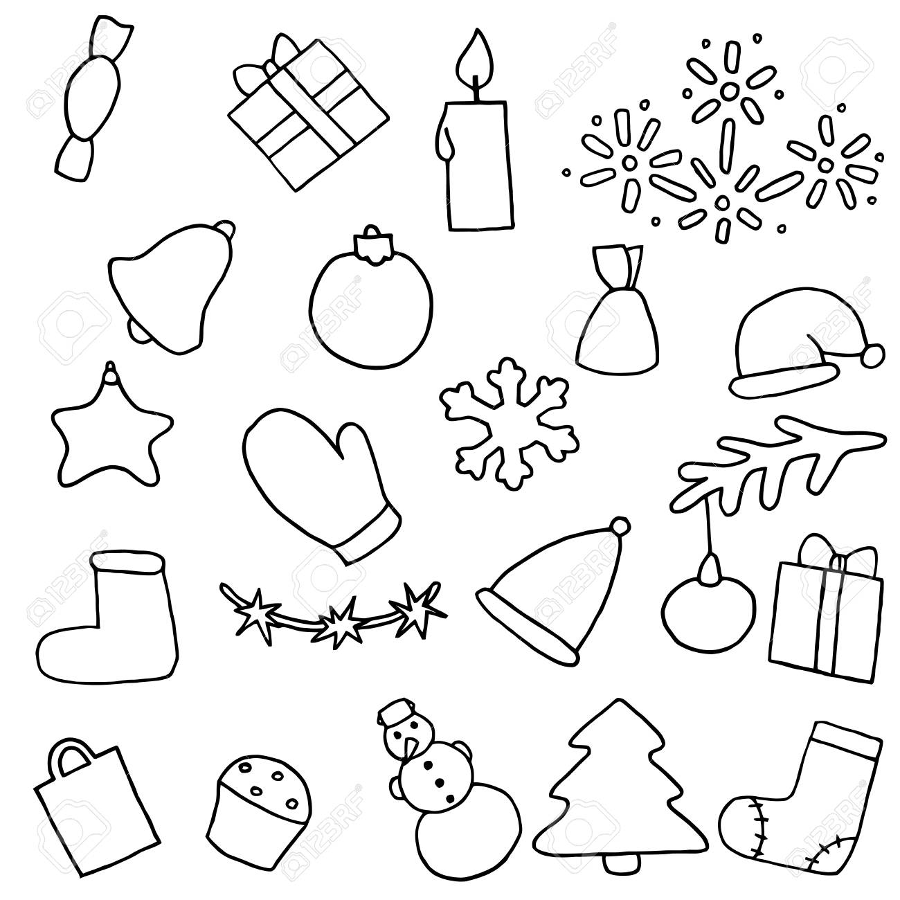 1300x1300 New Year Icons Set. Christmas Coloring Stickers. Collection