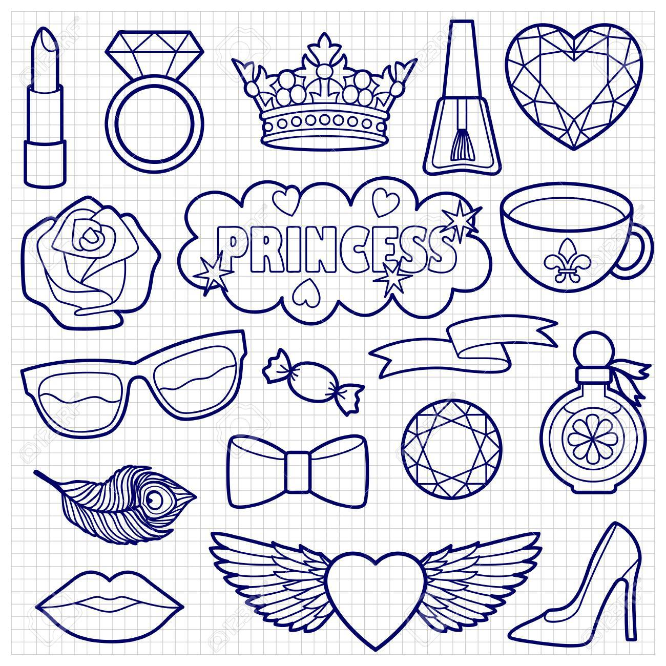 1300x1300 Princess Fashion Patches. Stickers Sketch On Squared Paper