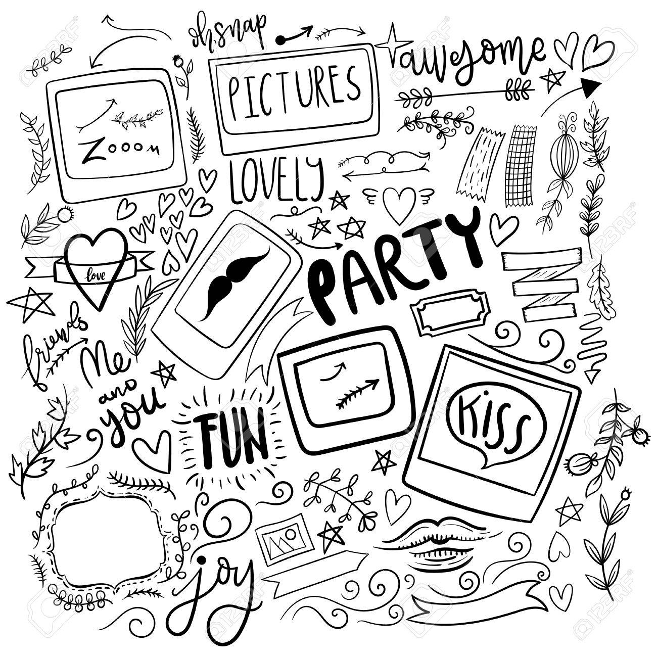 1300x1300 Set Of Cute Girly Drawn Doodle Stickers. Funny, Simple