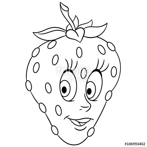 500x500 Coloring Book. Coloring Page. Cartoon Strawberry Character. Happy