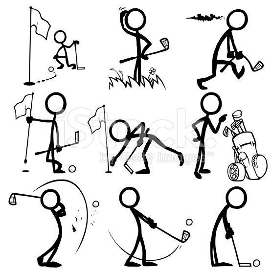 556x556 Stickfigures Playing Golf Stick Figure, Vector Art And Sticks
