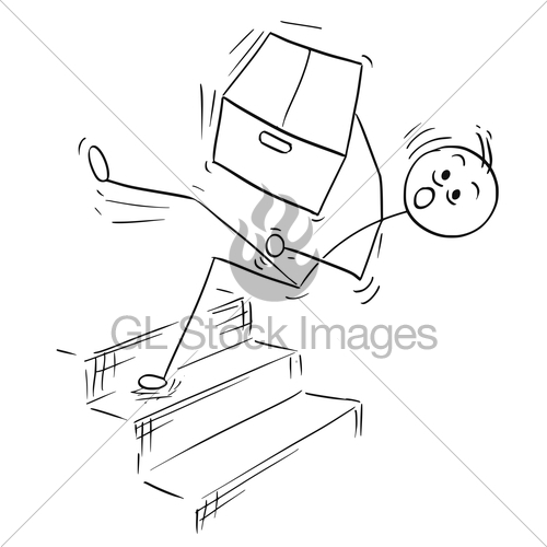 500x500 Vector Stick Man Cartoon Of Man Falling From Stairs Stair · GL