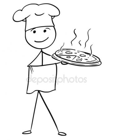 364x450 Vector Stick Man Cartoon of Male Cook Chef in Hat Holding Plate