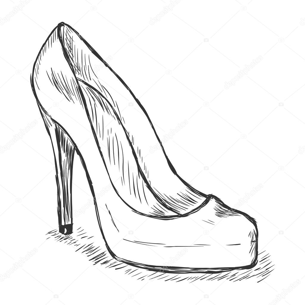 1024x1024 Isolated Vector Sketch Of Women's High Heel Stiletto Shoes Stock