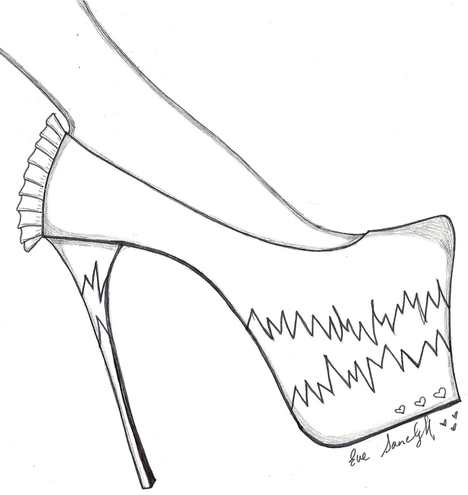 1511x1600 Paper Doll Eve~ Pink Stiletto. Shoe Template