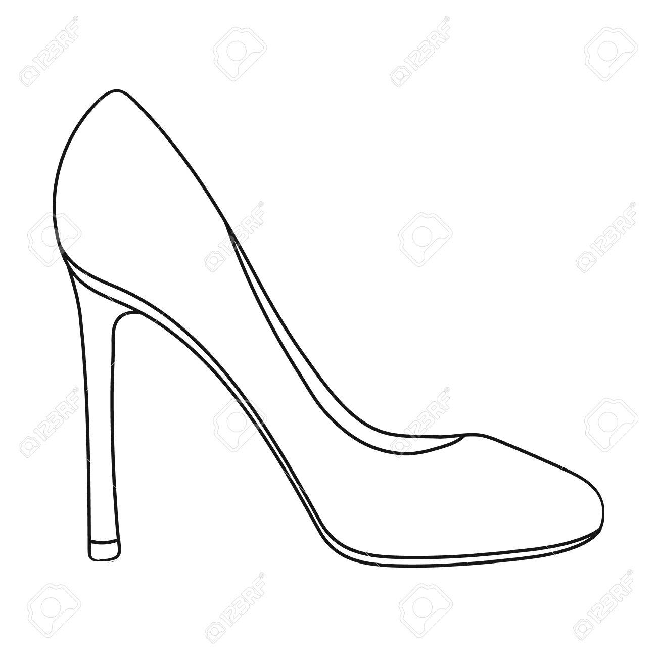 1300x1300 Stiletto Icon In Outline Style Isolated On White Background