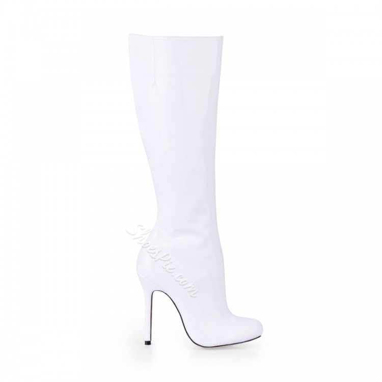 750x750 White Upper Stiletto Closed Toes Knee High Boots