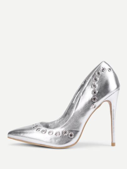 405x539 Grommet Design Pu Stiletto Heels Shein(Sheinside)