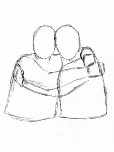 225x300 Four Easy Methods For Drawing People Hugging Let's Draw People