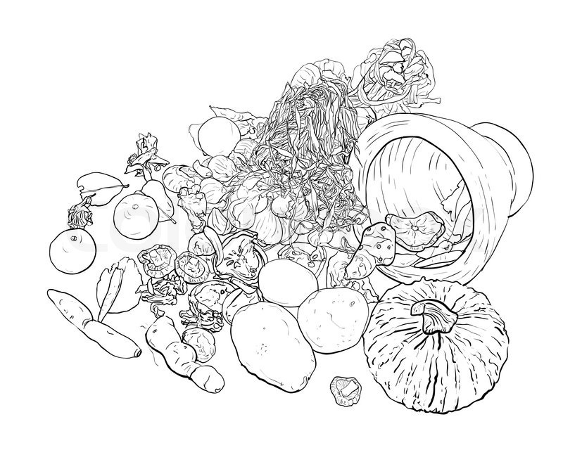 800x640 Drawing Still Life Of Food,vegetable,dried Food And Egg Stock