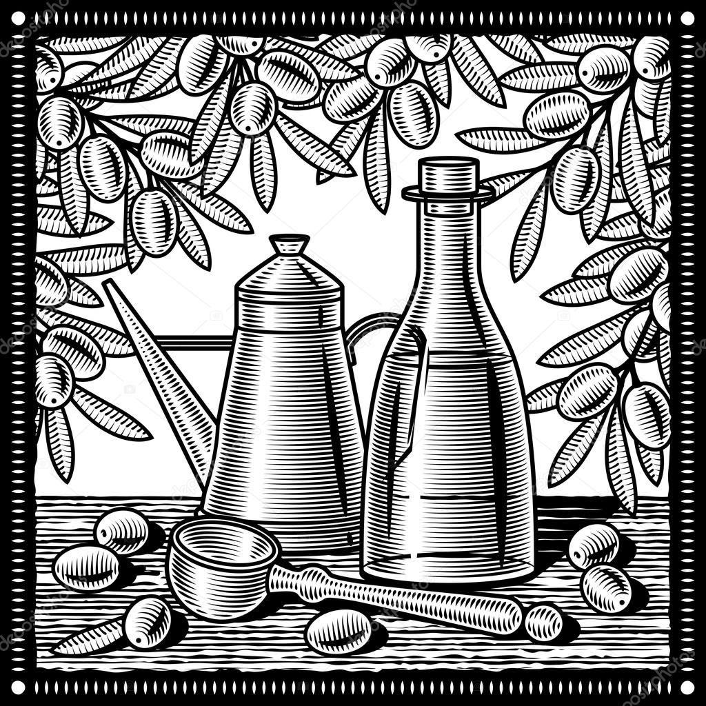 1024x1024 Retro Olive Oil Still Life Black And White Stock Vector Iatsun