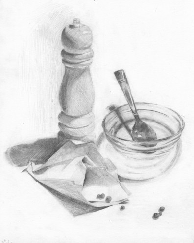396x494 Still Life Drawing Pepper Grinder, Glass Bowl Pencil Original
