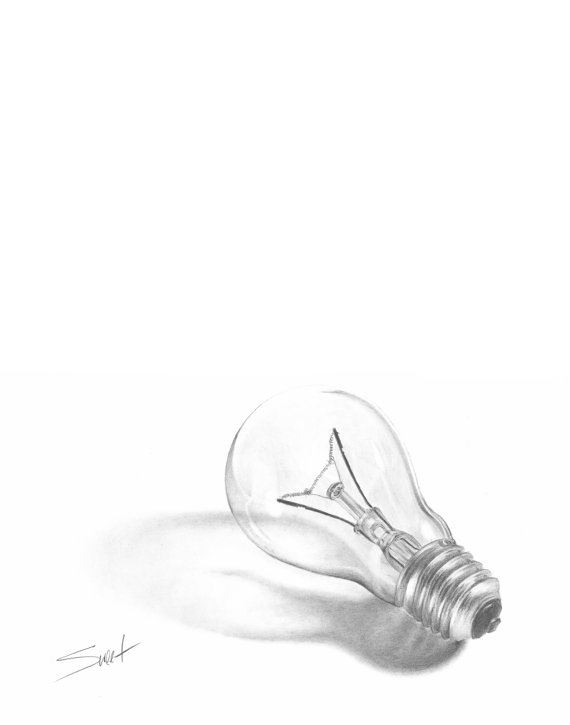 570x725 Still Life Art Pencil Drawing Of A Lightbulb By Signedsweet Art
