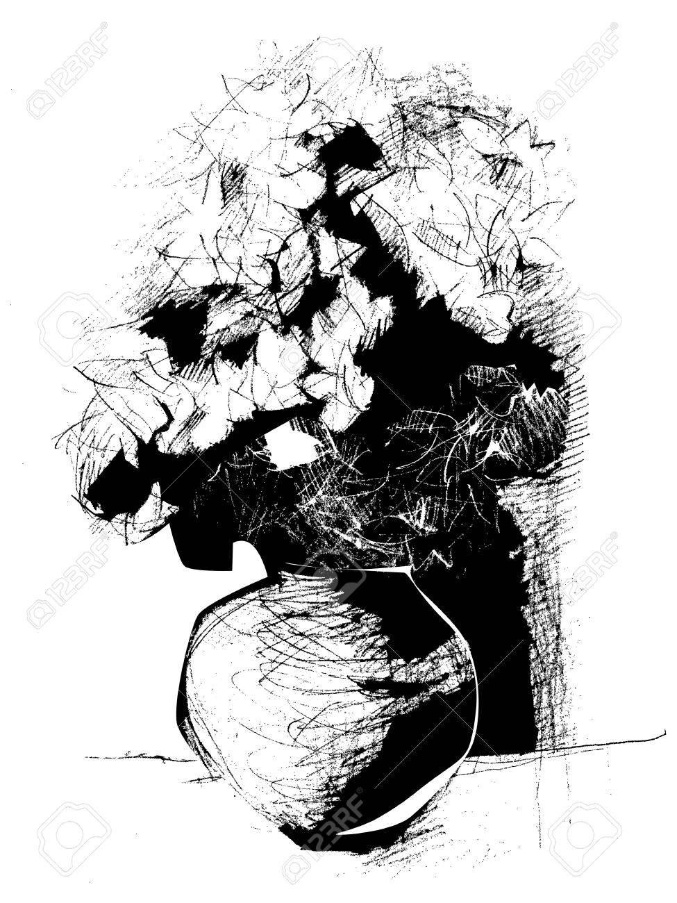 975x1300 Black And White Still Life With Flowers, Hand Drawn Sketch