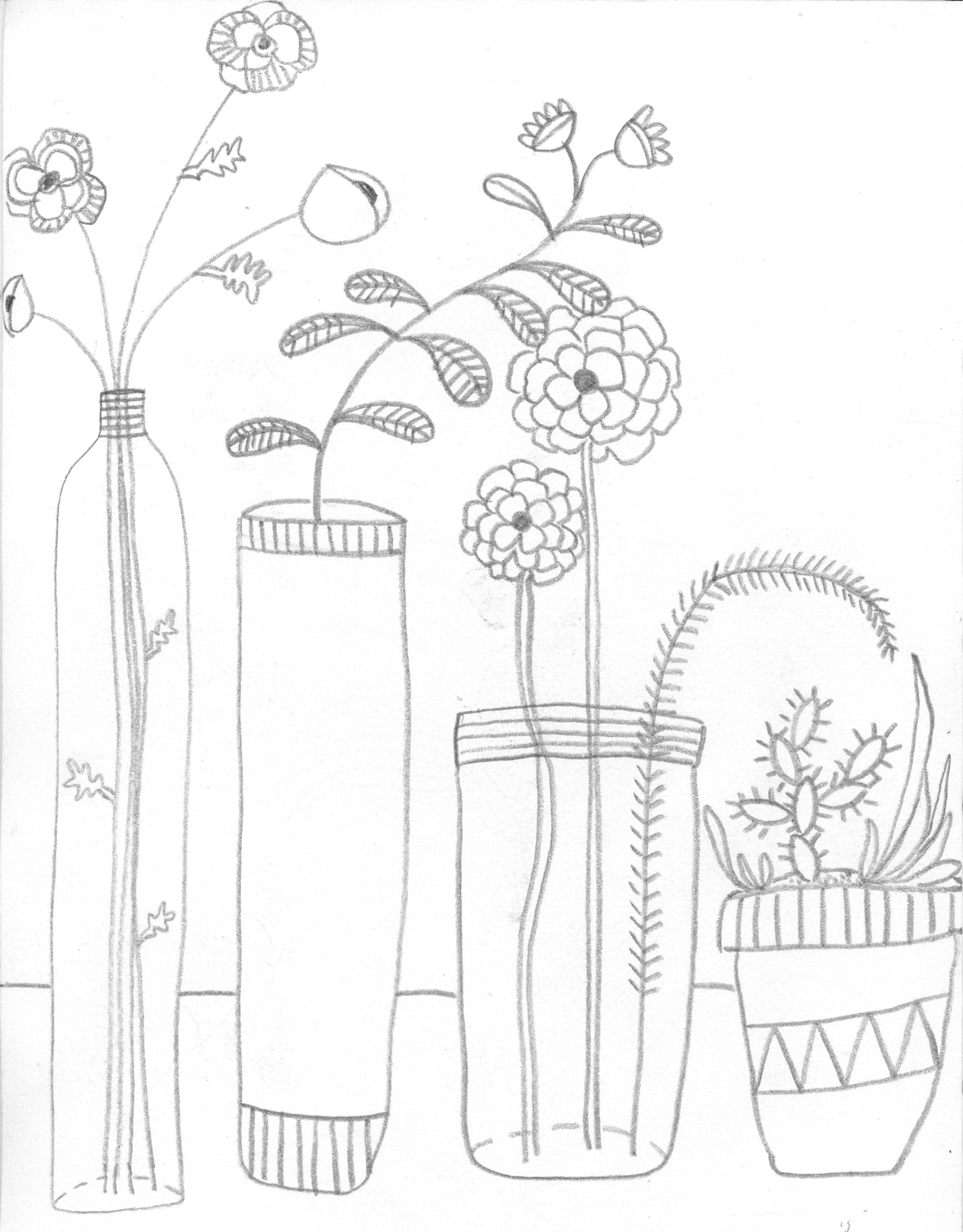 2255x2886 Line Drawing Still Life Contour Line Still Life